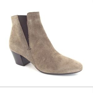 New AQUATALIA Taupe Textured Suede Ankle Boots 6